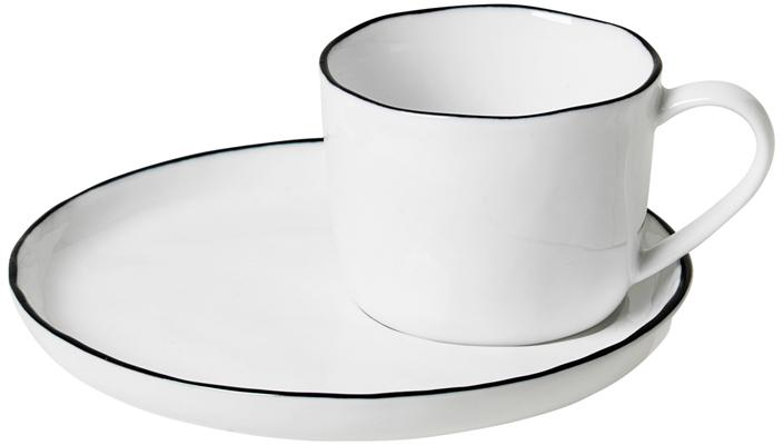 Taza con platito artesanal Salt, Porcelana, Blanco crudo, negro, Ø 6 x Al 5 cm