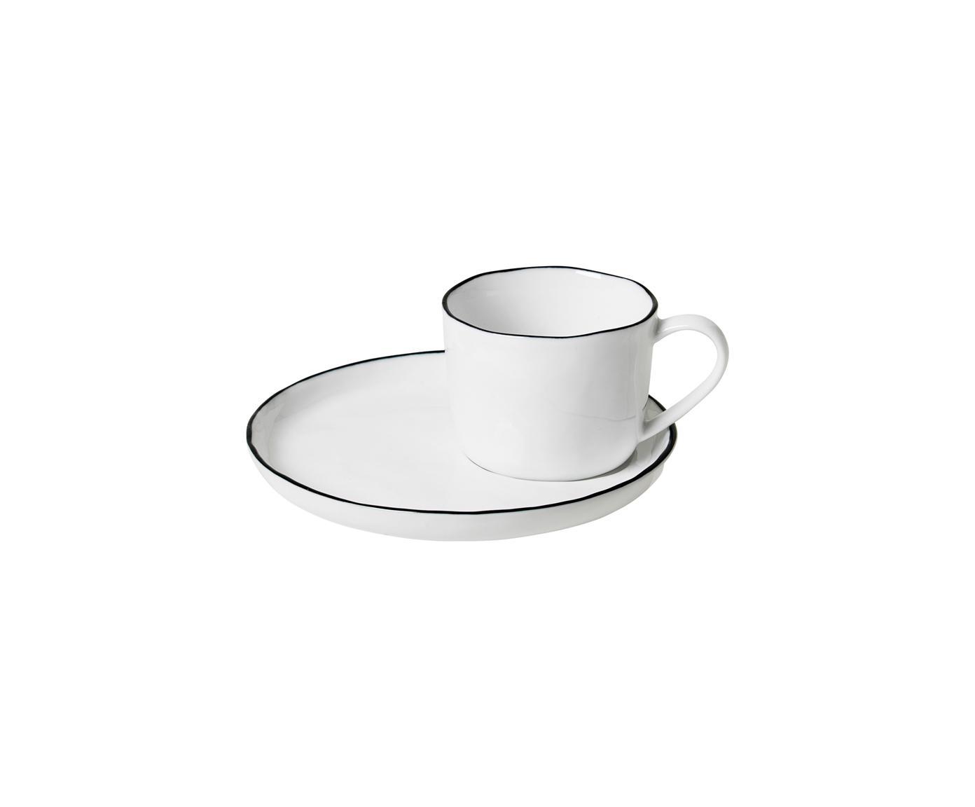 Handgemaakt espressokopje met schoteltje Salt, Porselein, Gebroken wit. Rand: zwart, Ø 6 x H 5 cm