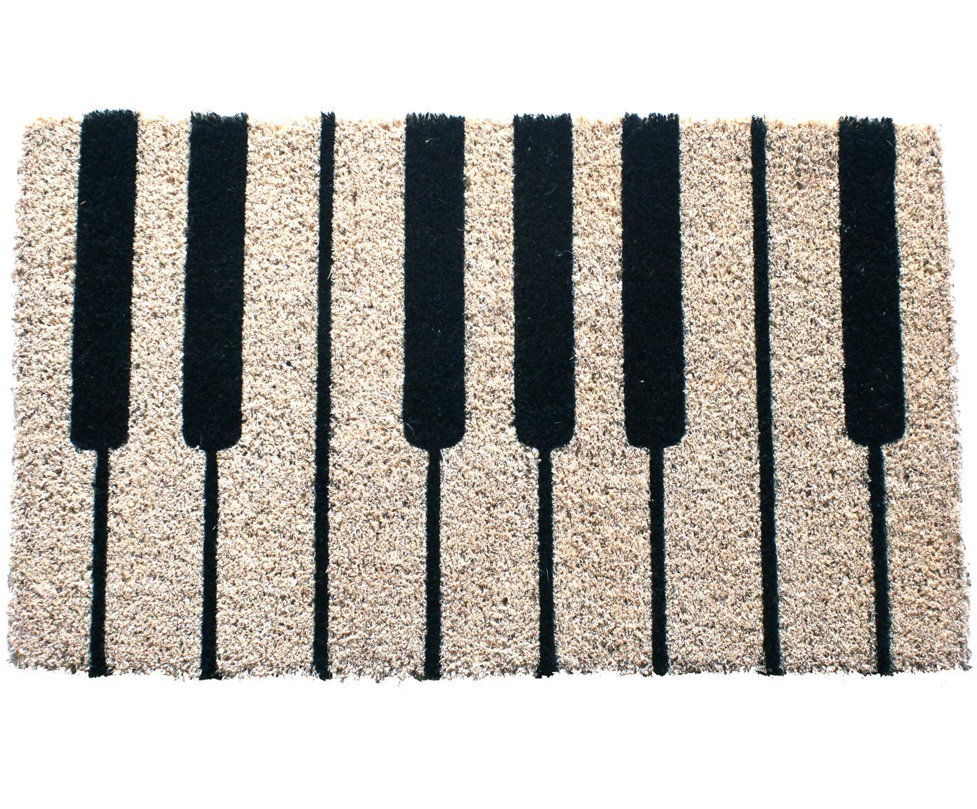 Felpudo Piano, Parte superior: fibras de coco, Reverso: plástico (PVC), Negro, crema, An 40 x L 60 cm