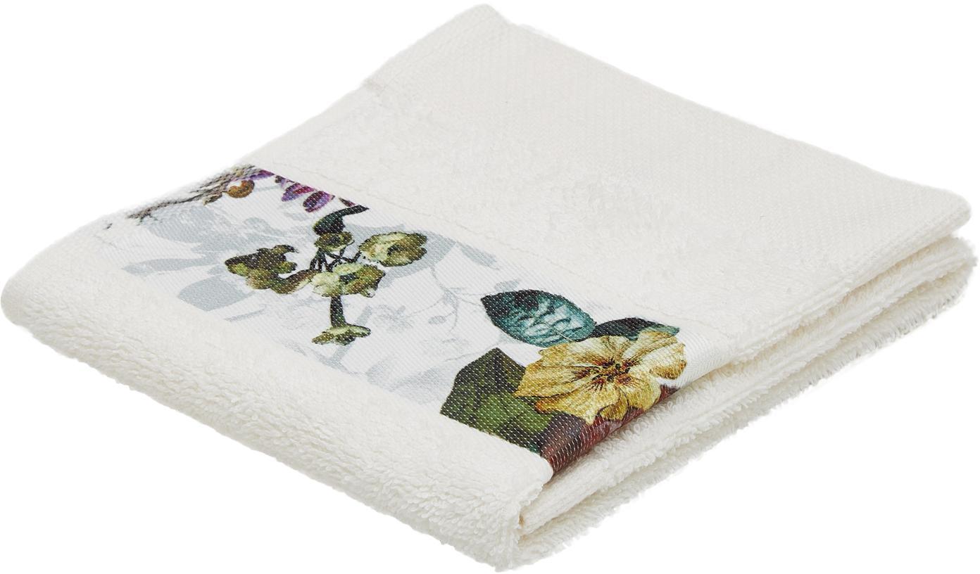 Handtuch Fleur in verschiedenen Größen, mit Blumen-Bordüre, 97% Baumwolle, 3% Polyester, Cremeweiß, Mehrfarbig, Gästehandtuch