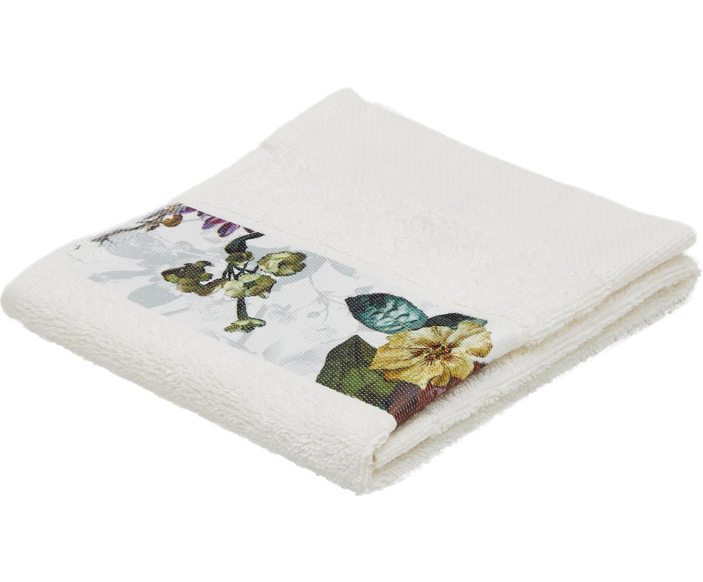 Handtuch Fleur mit Blumen-Bordüre, 97% Baumwolle, 3% Polyester, Cremeweiß, Mehrfarbig, Gästehandtuch