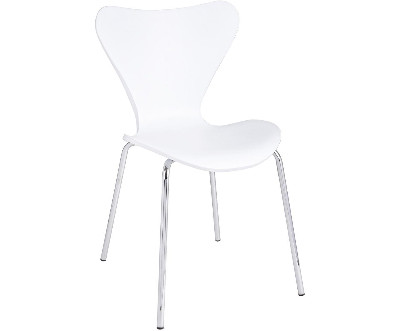 Stapelbare Kunststoffstühle Tessa, 2 Stück, Sitzfläche: Kunststoff (Polypropylen), Beine: Metall, verchromt, Weiß, Chrom, B 50 x T 50 cm
