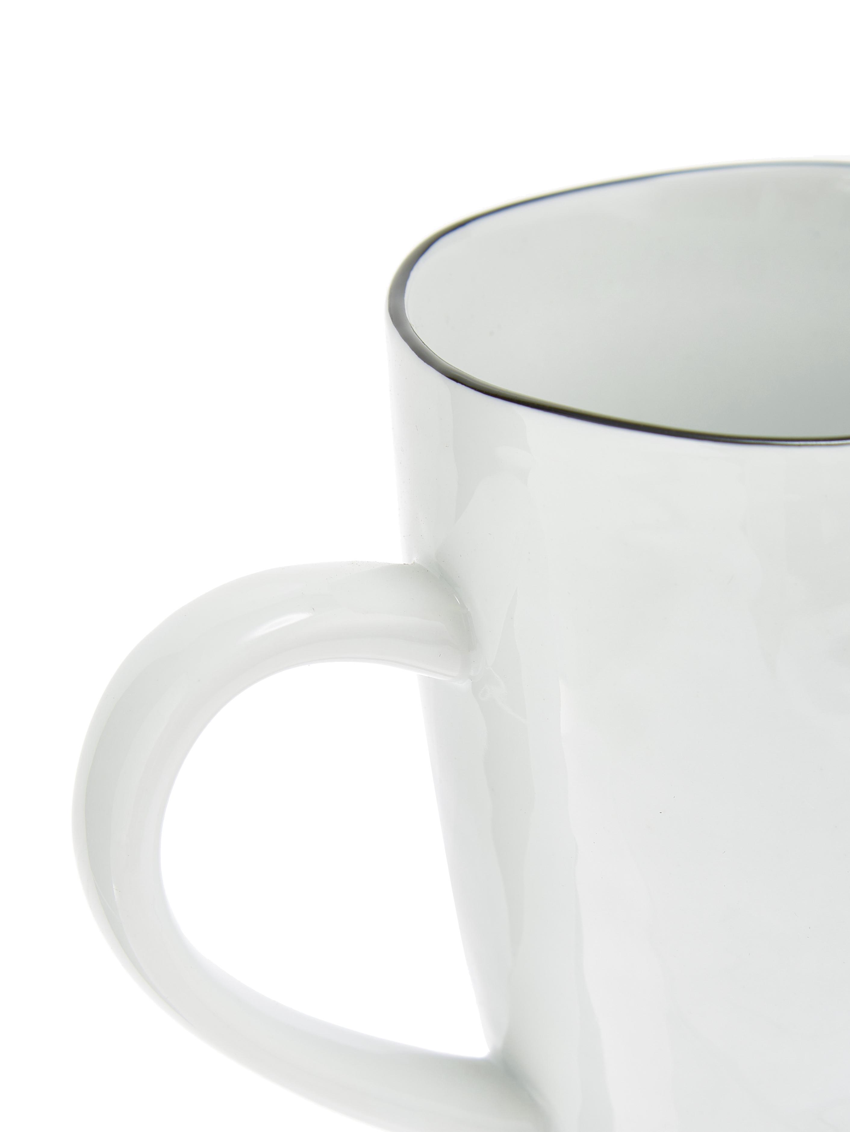 Handgemachte Tassen Salt mit schwarzem Rand, 6 Stück, Porzellan, Gebrochenes Weiß, Schwarz, Ø 8 x H 12 cm