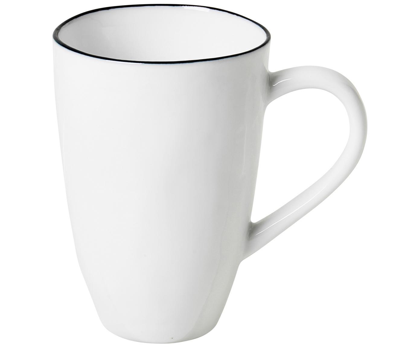 Handgemachte Tassen Salt, 6 Stück, Porzellan, Gebrochenes Weiss, Schwarz, Ø 8 x H 12 cm