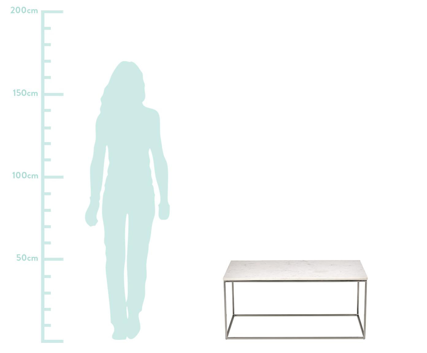 Marmor-Couchtisch Alys, Tischplatte: Marmor, Gestell: Metall, pulverbeschichtet, Tischplatte: weißer MarmorGestell: Silber, glänzend, 80 x 45 cm