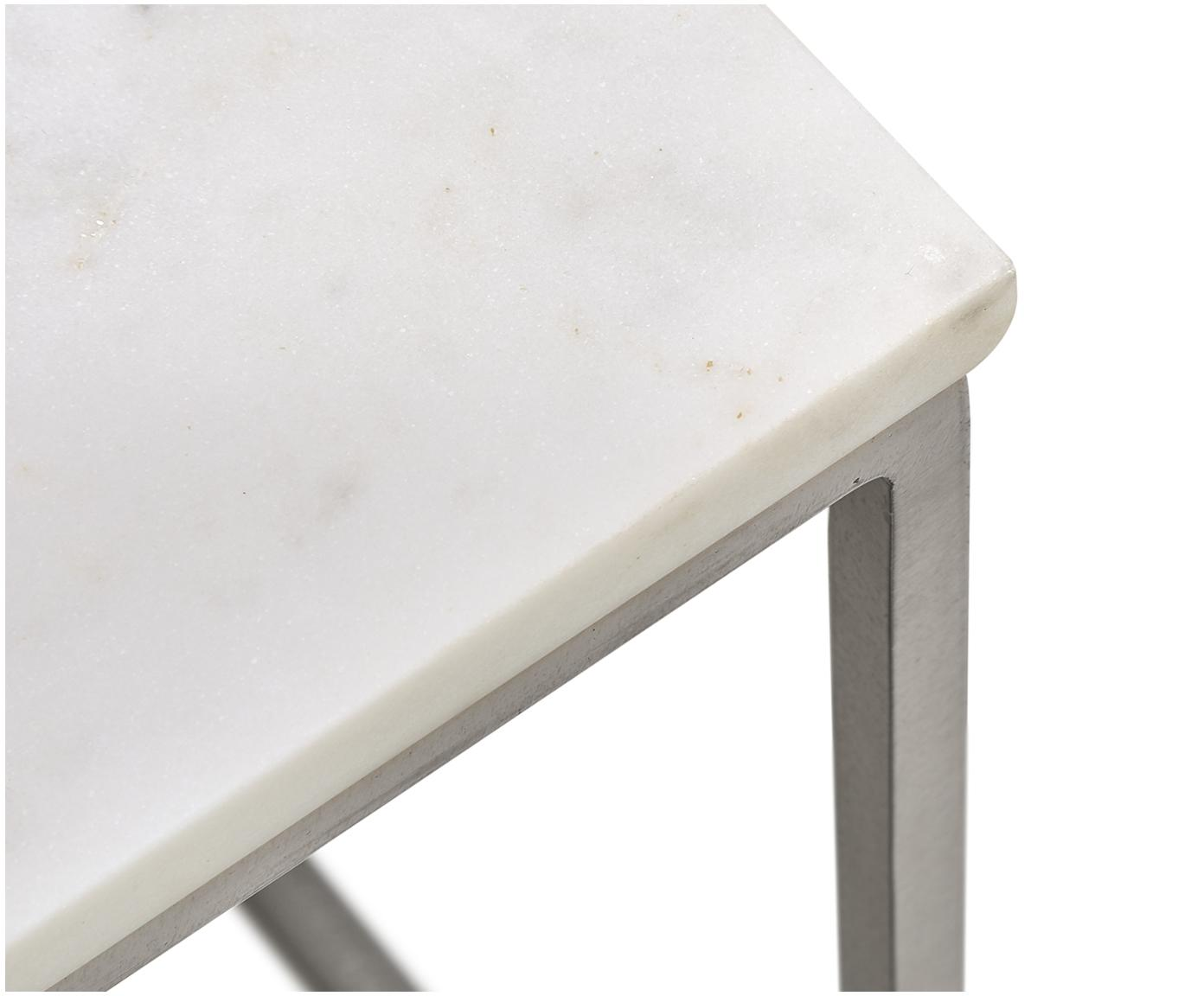 Marmeren salontafel Alys, Tafelblad: marmer, Frame: gepoedercoat metaal, Tafelblad: wit marmer. Frame: zilverkleurig, glanzend, 80 x 45 cm