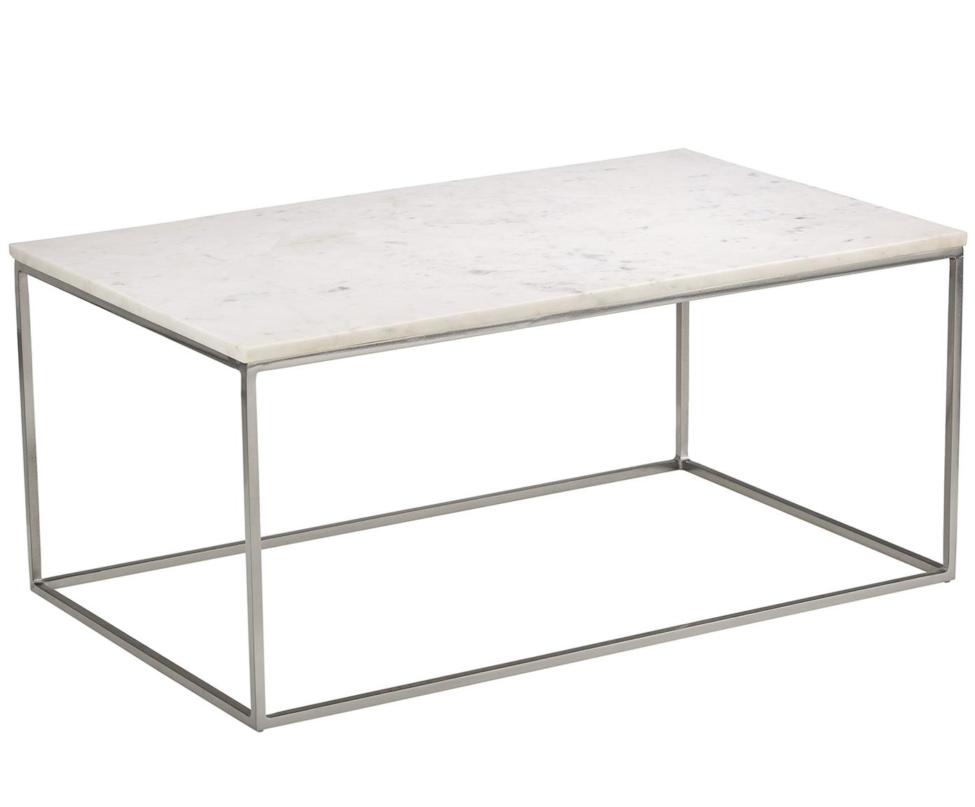 Mesa de centro de mármol Alys, Tablero: mármol natural, Estructura: metal con pintura en polv, Mármol blanco, plateado, An 80 x Al 45 cm