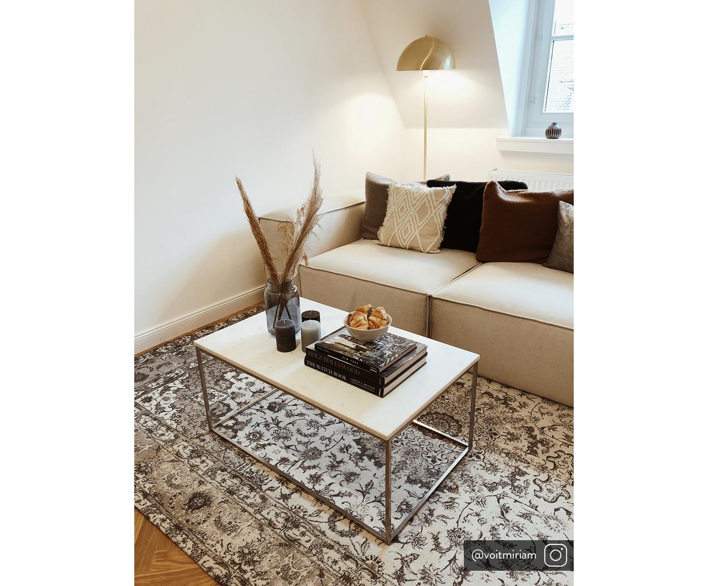 Stolik kawowy z marmuru Alys, Blat: marmur, Stelaż: metal malowany proszkowo, Blat: jasny marmur Stelaż: srebrny, błyszczący, S 80 x W 45 cm