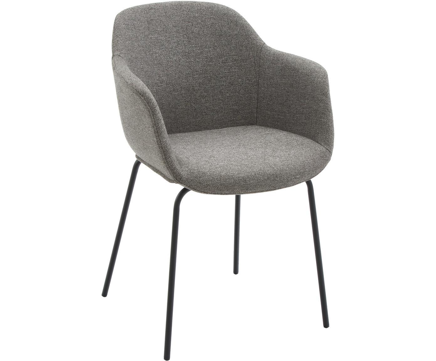 Armlehnstuhl Fiji mit Metallbeinen, Bezug: Polyester 40.000 scheuert, Beine: Metall, pulverbeschichtet, Sitzschale: Dunkelgrau Beine: Schwarz, matt, B 58 x T 56 cm
