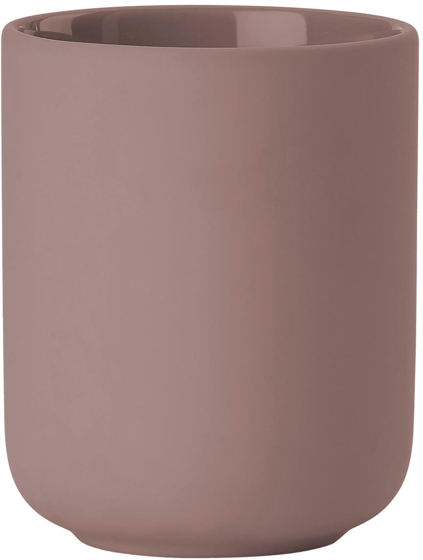 Zahnputzbecher Ume aus Steingut, Steingut überzogen mit Soft-touch-Oberfläche (Kunststoff), Altrosa, matt, Ø 8 x H 10 cm