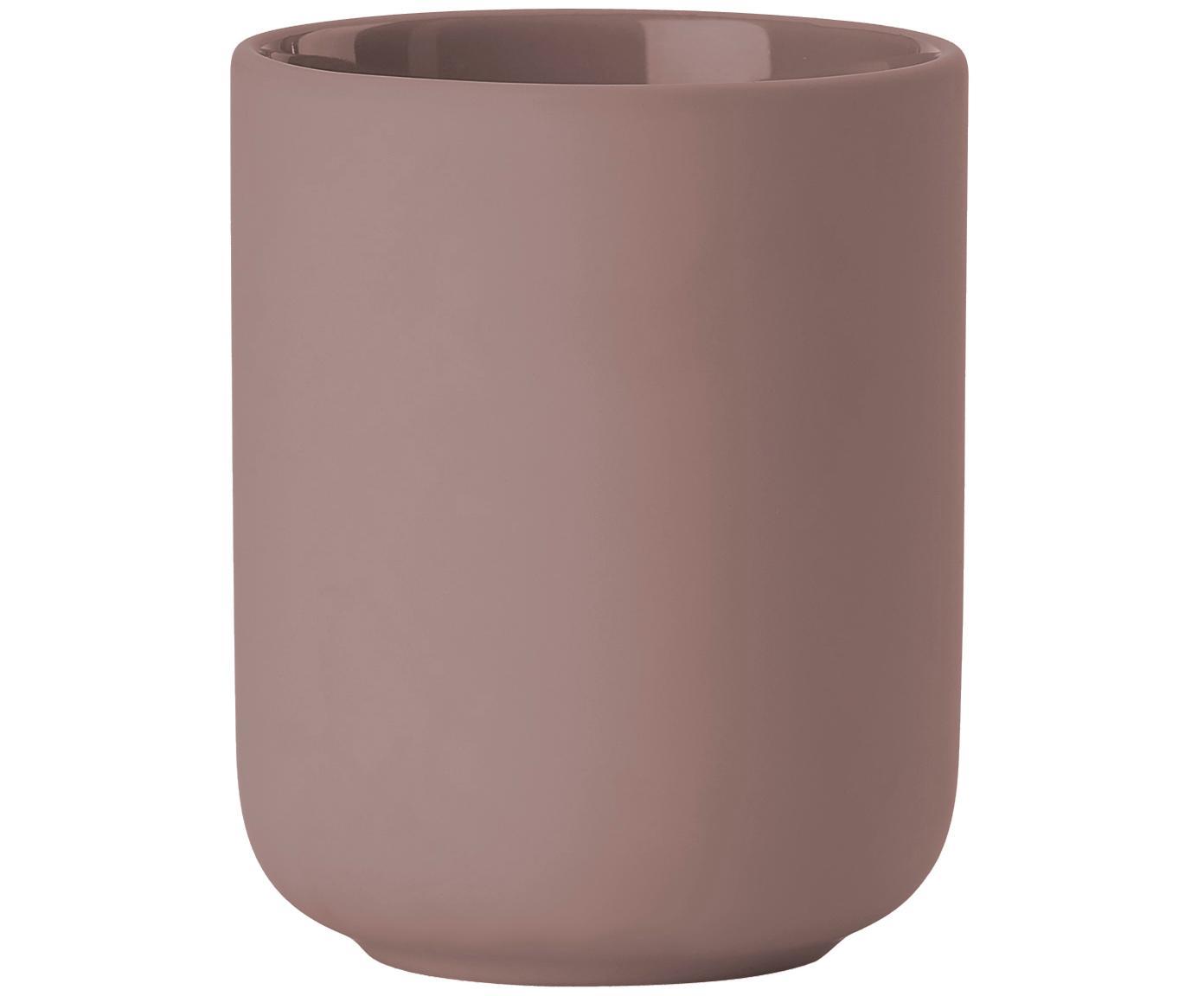 Porta spazzolini in terracotta Ume, Terracotta rivestita con superficie soft-touch (materiale sintetico), Rosa cipria opaco, Ø 8 x Alt. 10 cm