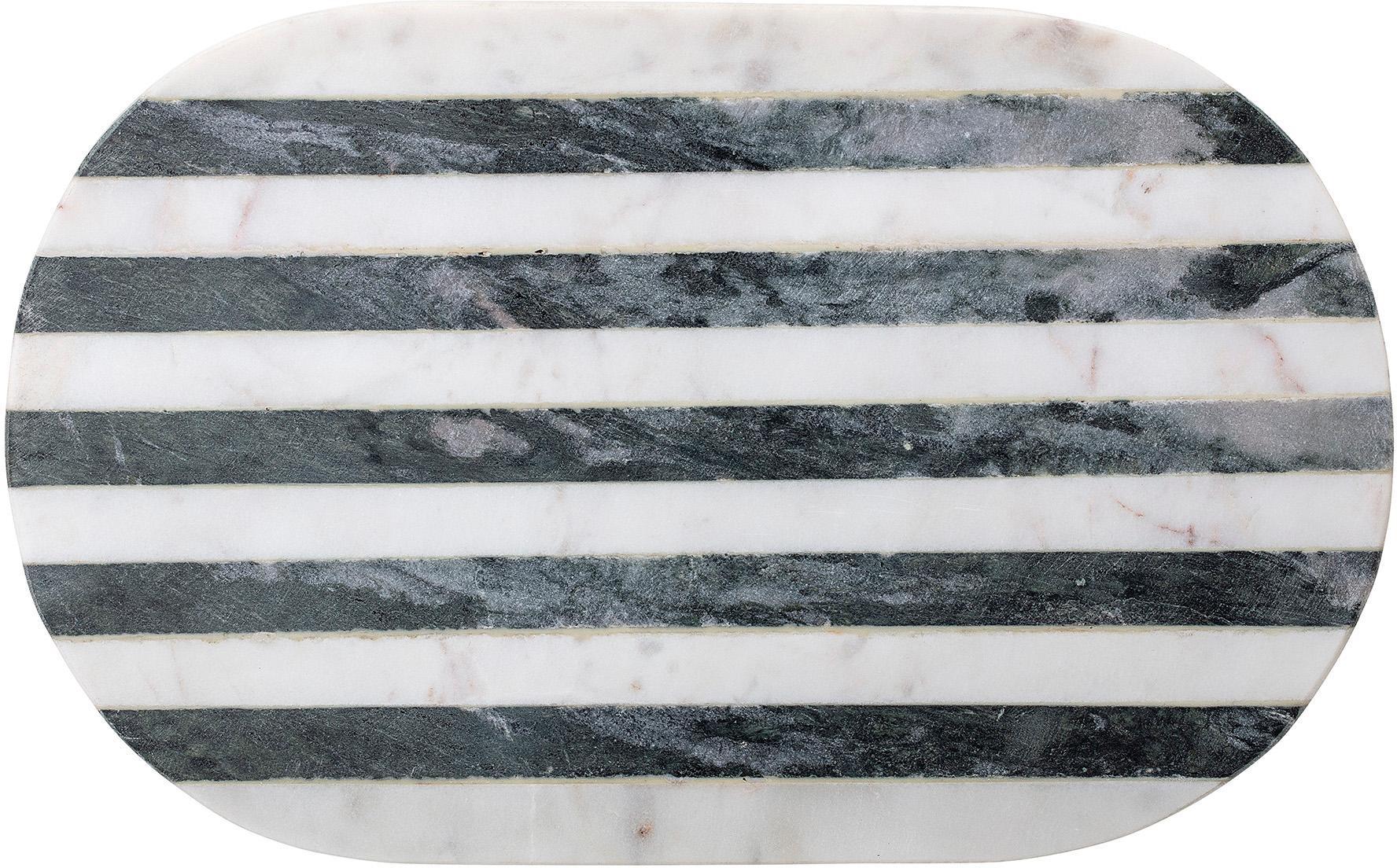 Deska do krojenia z marmuru Stripes, Marmur, Czarny, biały, S 37 x G 23 cm