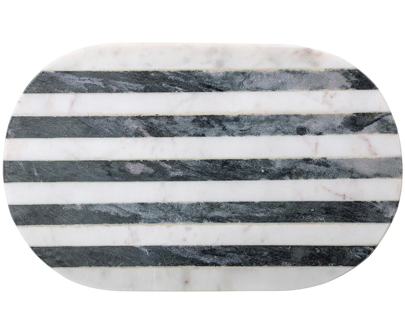 Marmor-Schneidebrett Stripes, Marmor, Schwarz, Weiß, B 37 x T 23 cm