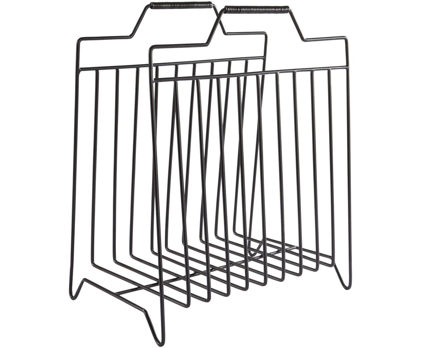 Portariviste Maud, Metallo verniciato, Nero, Larg. 43 x Alt. 36 cm