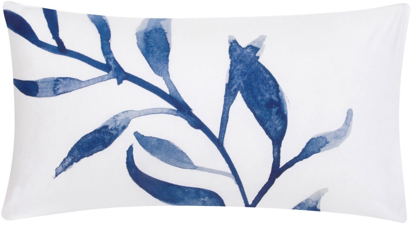 Dwustronna poszewka na poduszkę z perkalu Francine, 2 szt., Przód: niebieski, biały Tył: biały, 40 x 80 cm
