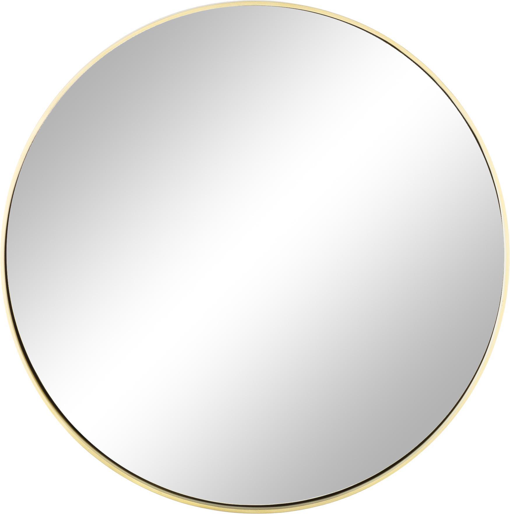 Ronde wandspiegel Ada met goudkleurige lijst, Lijst: vermessingd ijzer, Geborsteld messingkleurig, Ø 60 cm