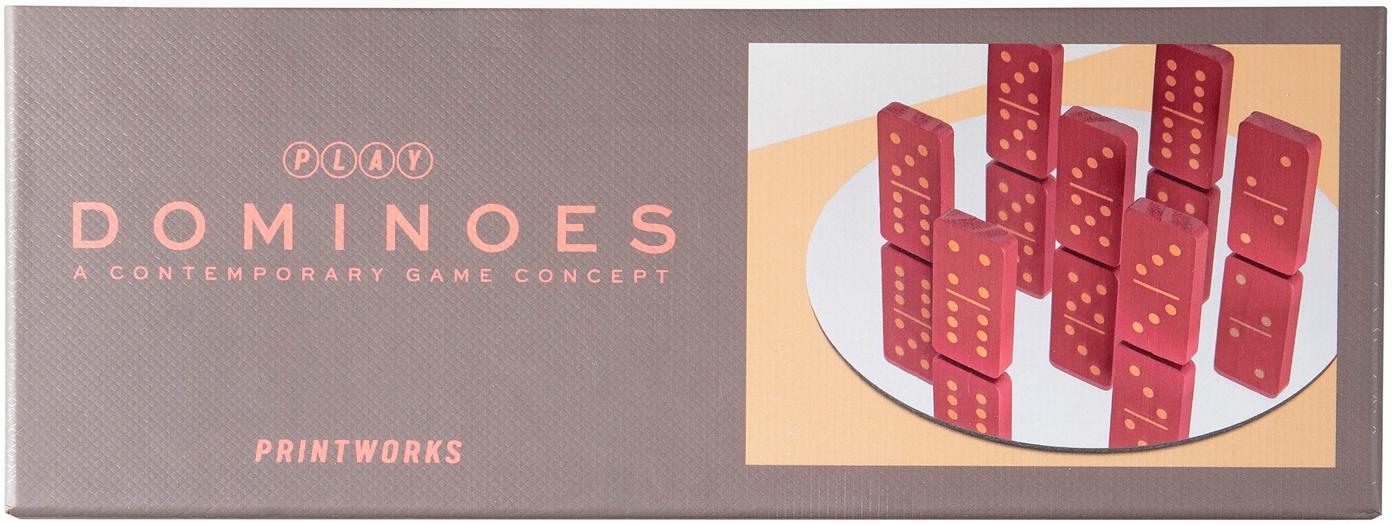 Komplet domino Play, 30 elem., Papier, drewno naturalne, Greige, czerwony, S 24 x W 4 cm