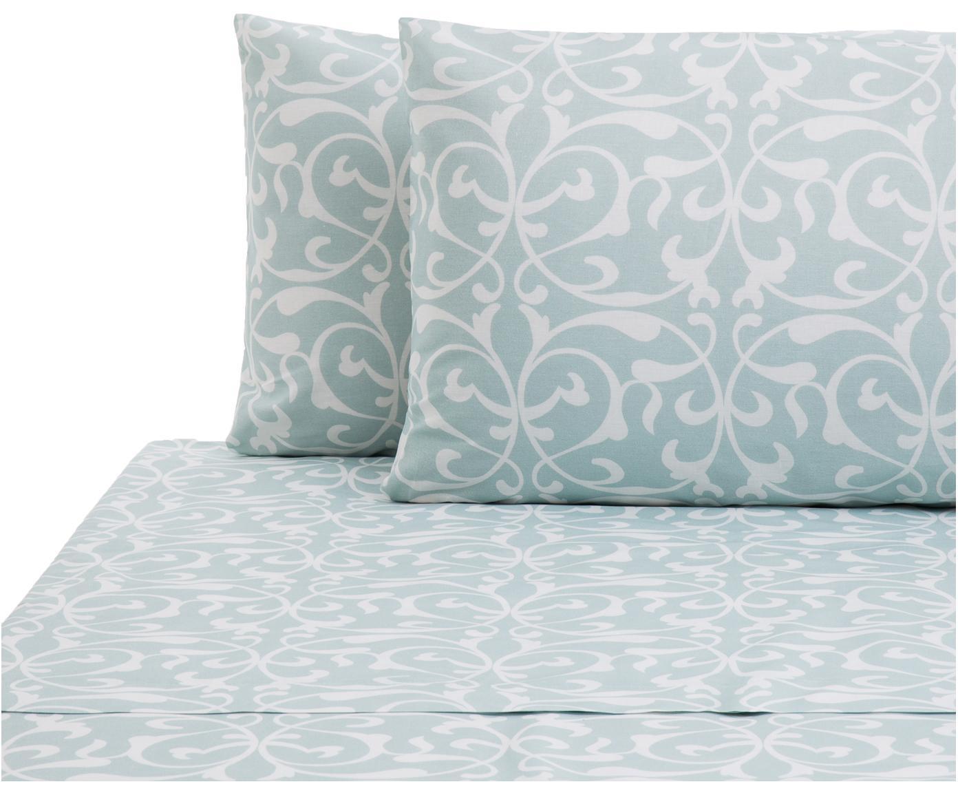Set lenzuola in cotone Sola 2 pz, Cotone, Azzurro, bianco, 240 x 270 cm