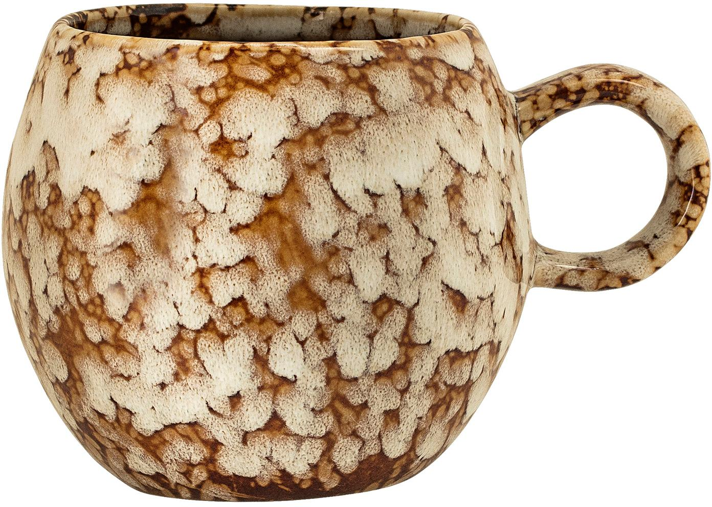 Handgemachte Tasse Paula mit effektvoller Glasur, Steingut, Braun, Cremeweiß, Ø 9 x H 8 cm