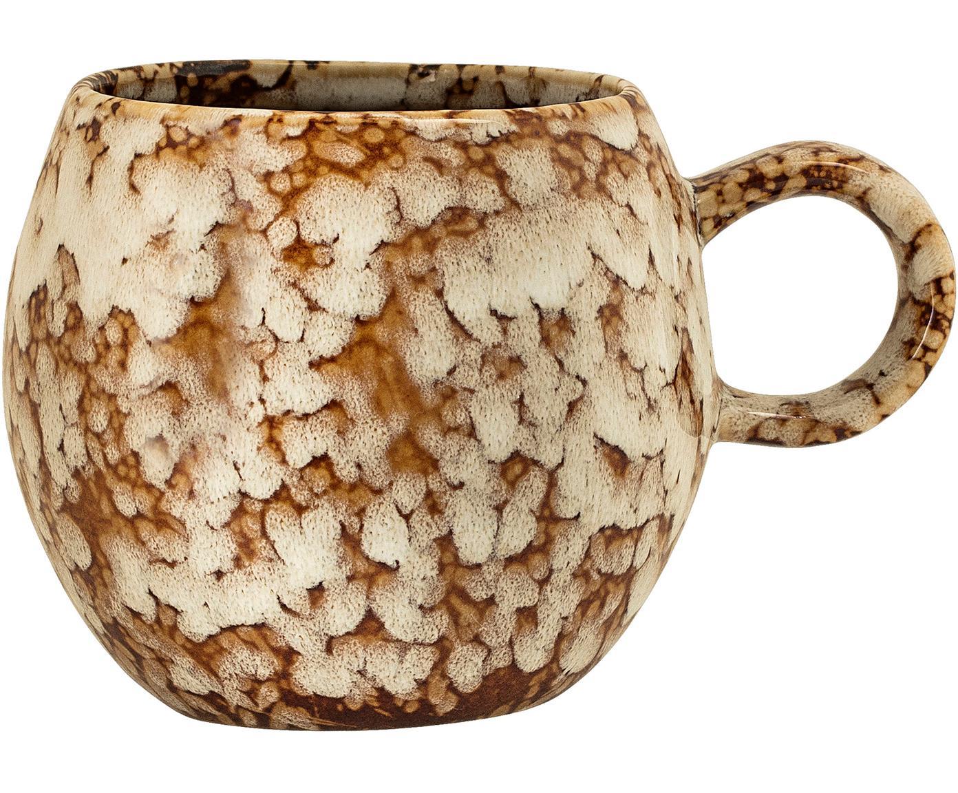 Tasse Paula mit effektvoller Glasur, Steingut, Braun, Cremeweiß, Ø 9 x H 8 cm