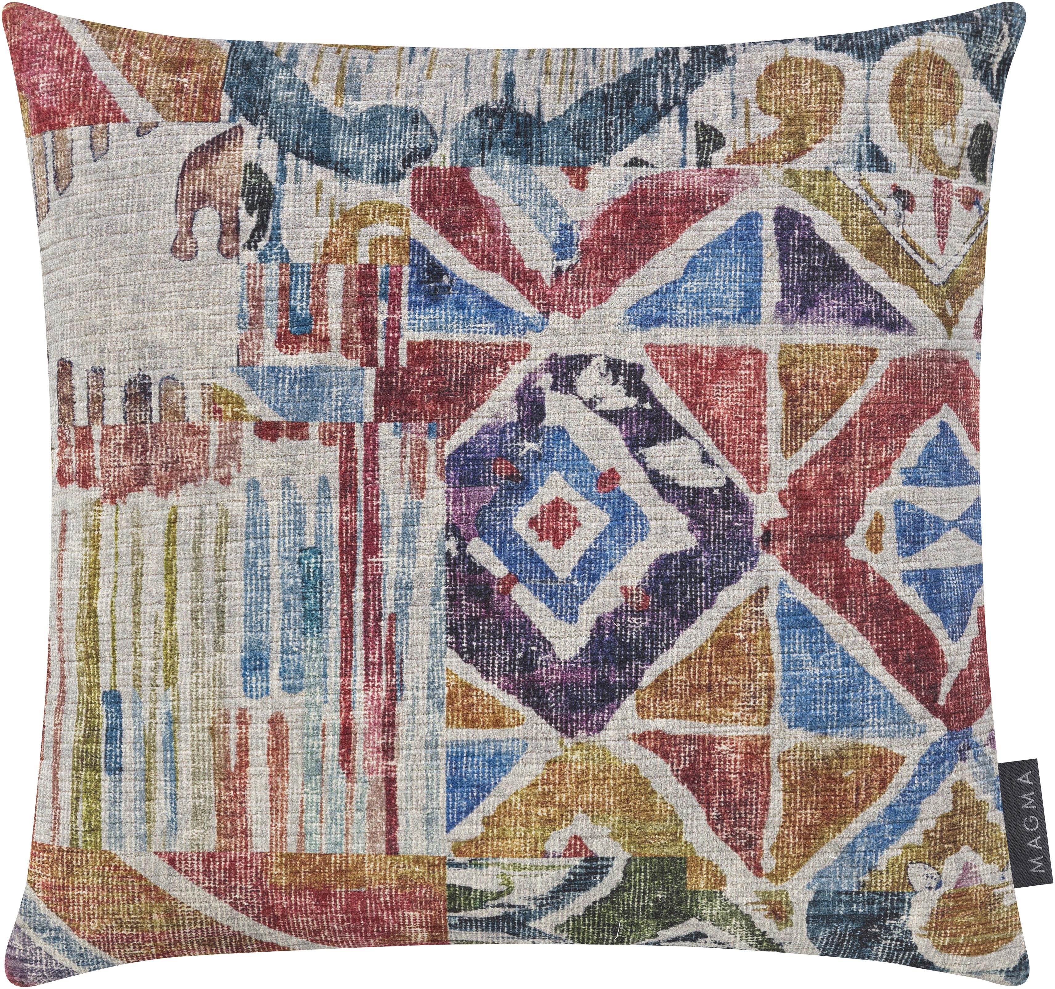 Fluwelen kussenhoes Cosima in kleur, Polyester fluweel, Wijnrood, multicolour, 40 x 40 cm
