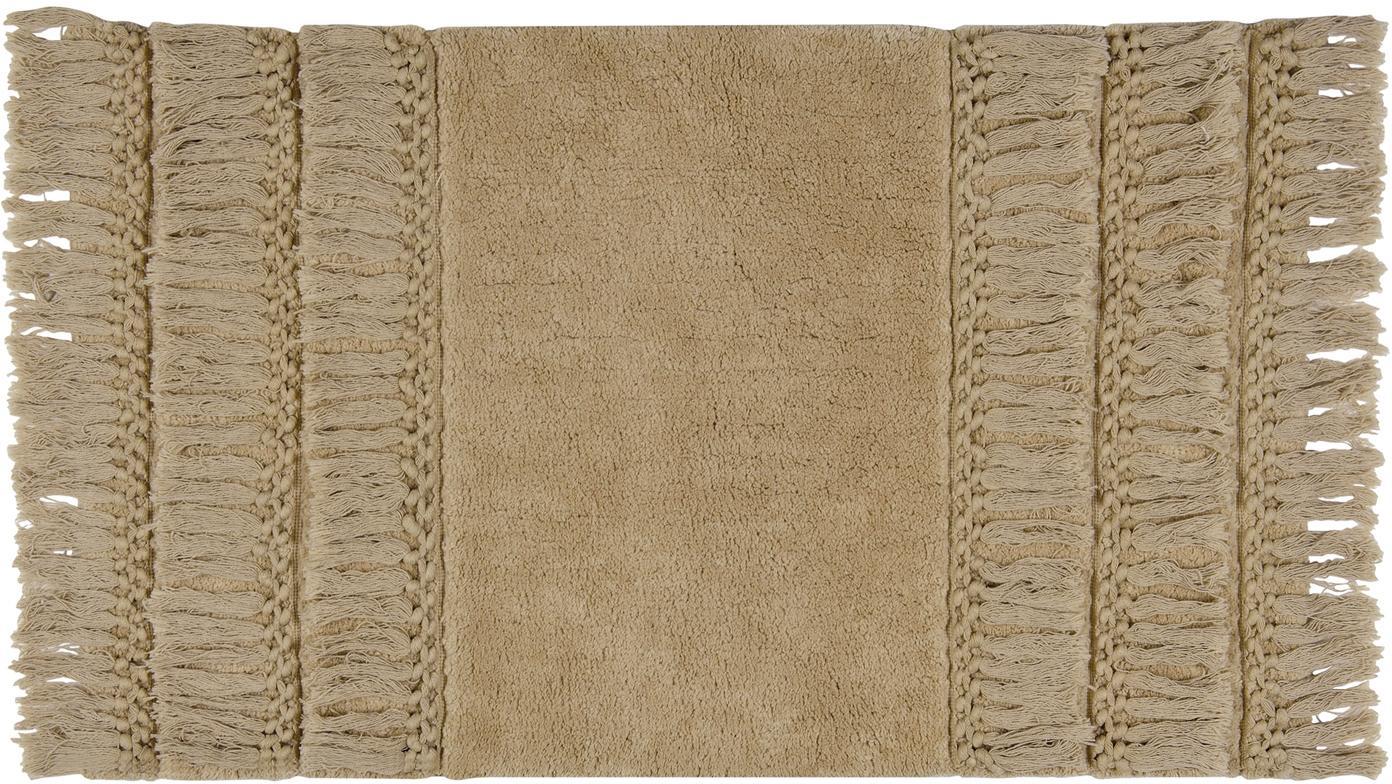 Badmat Ivana met franjes, Katoen, Beige, 50 x 80 cm