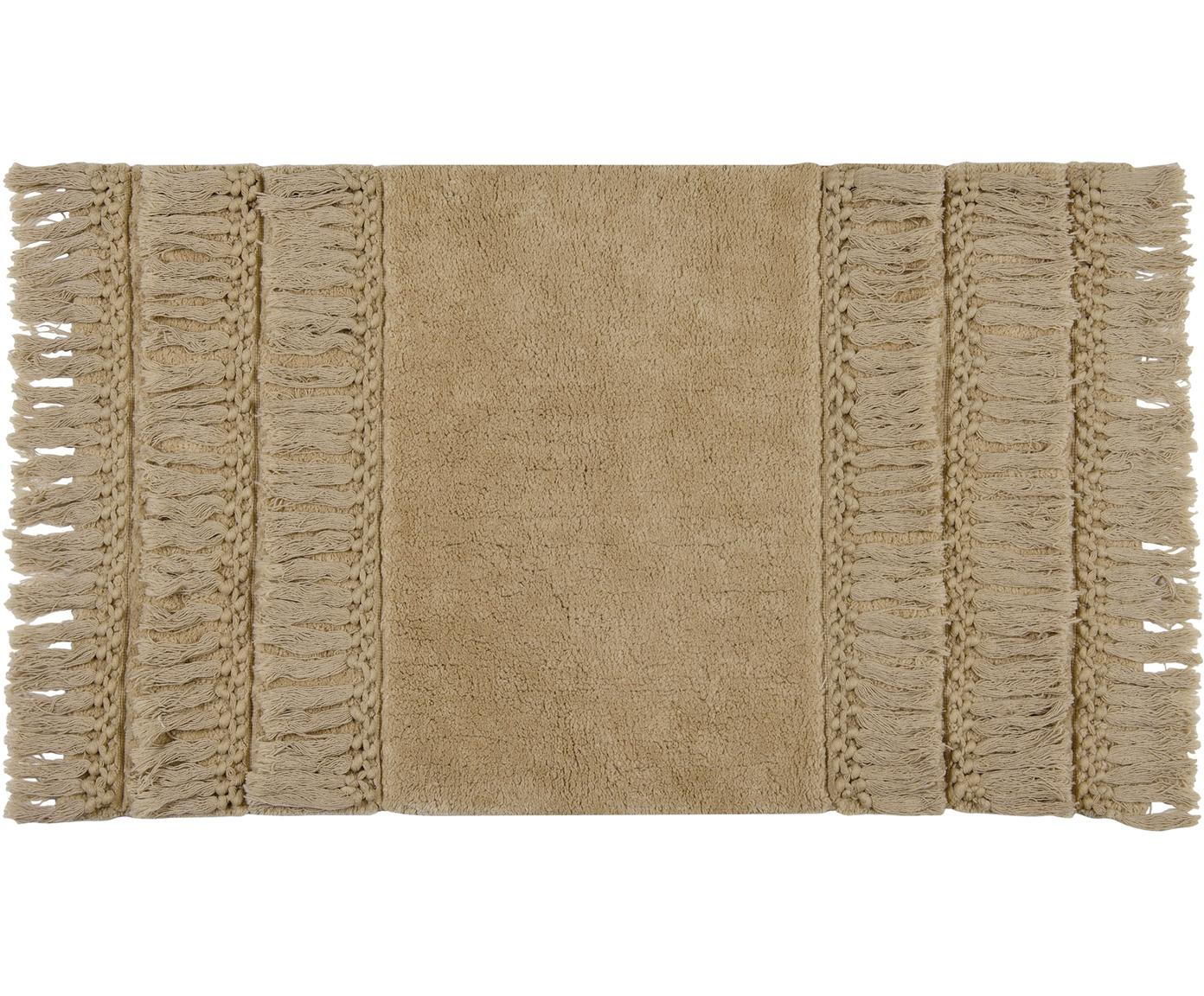 Tappeto bagno con frange Ivana, Cotone, Beige, Larg. 50 x Lung. 80 cm