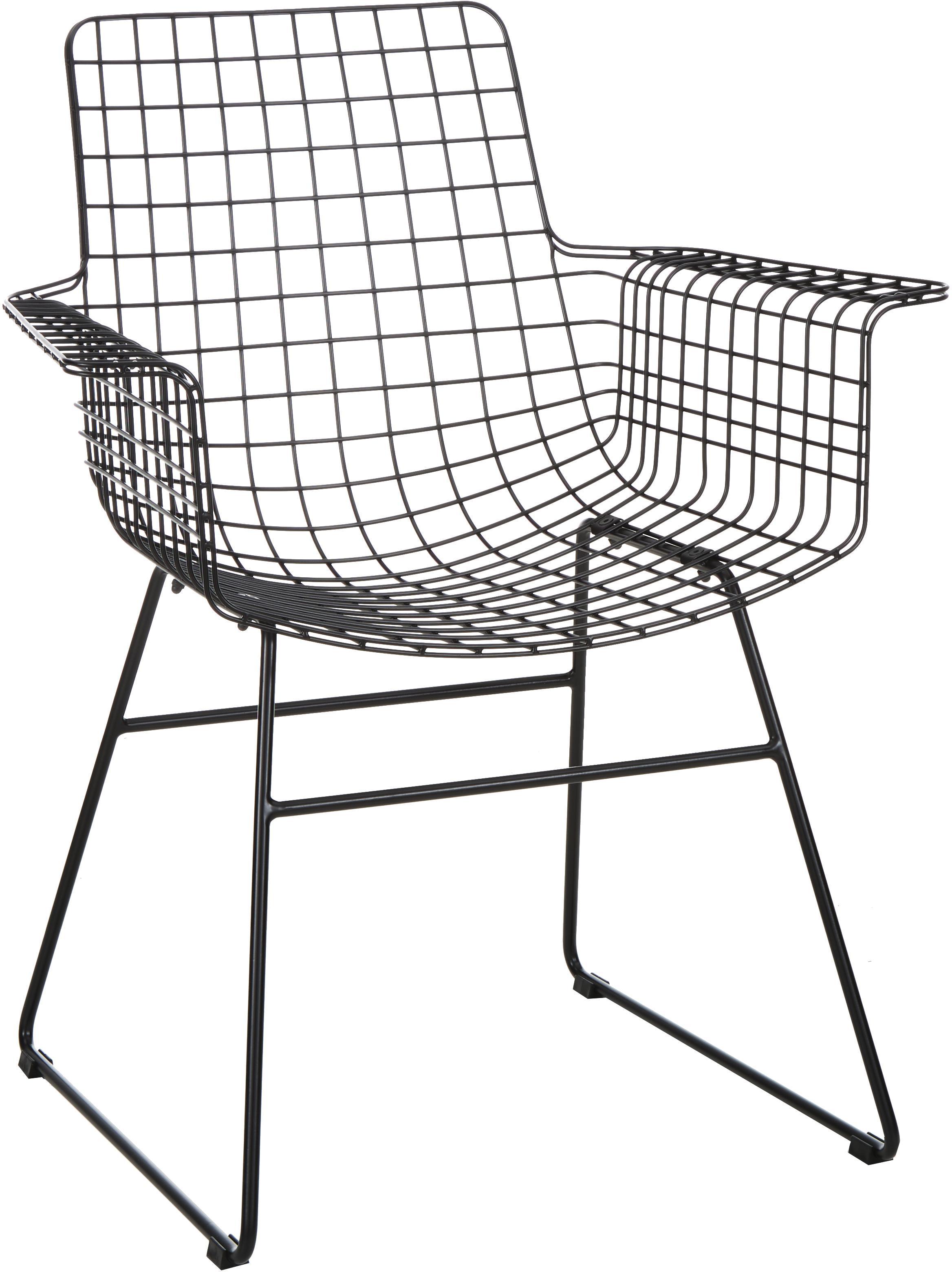Metalen armstoel Wire in zwart, Gepoedercoat metaal, Zwart, B 72 x D 56 cm