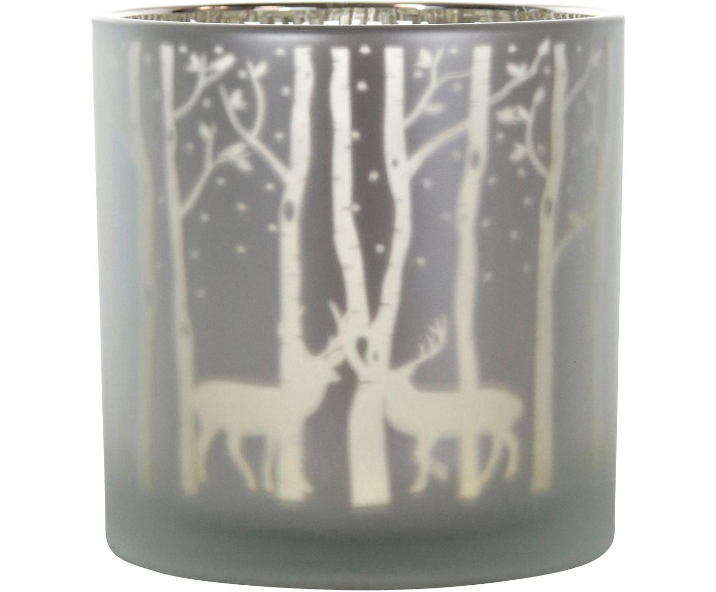 Windlicht Forest, Glas, Grau, Silberfarben, Ø 15 x H 15 cm