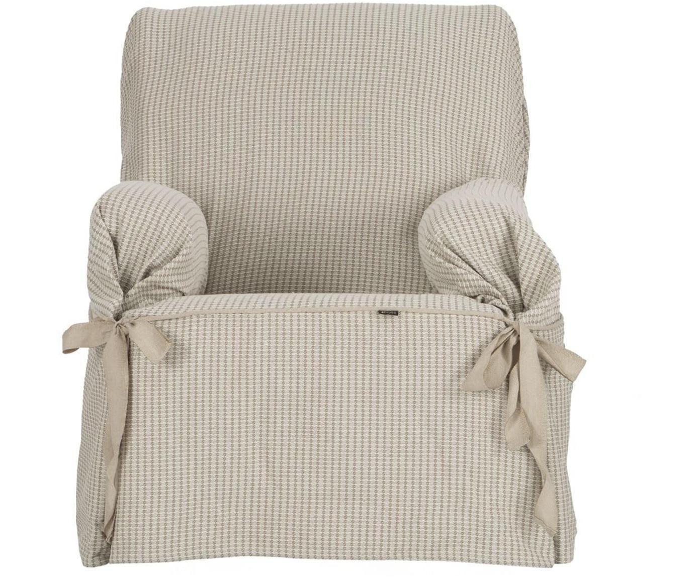 Funda de sillón Giovanna, Algodón sanforizado, Beige, crudo, An 120 x Al 110 cm