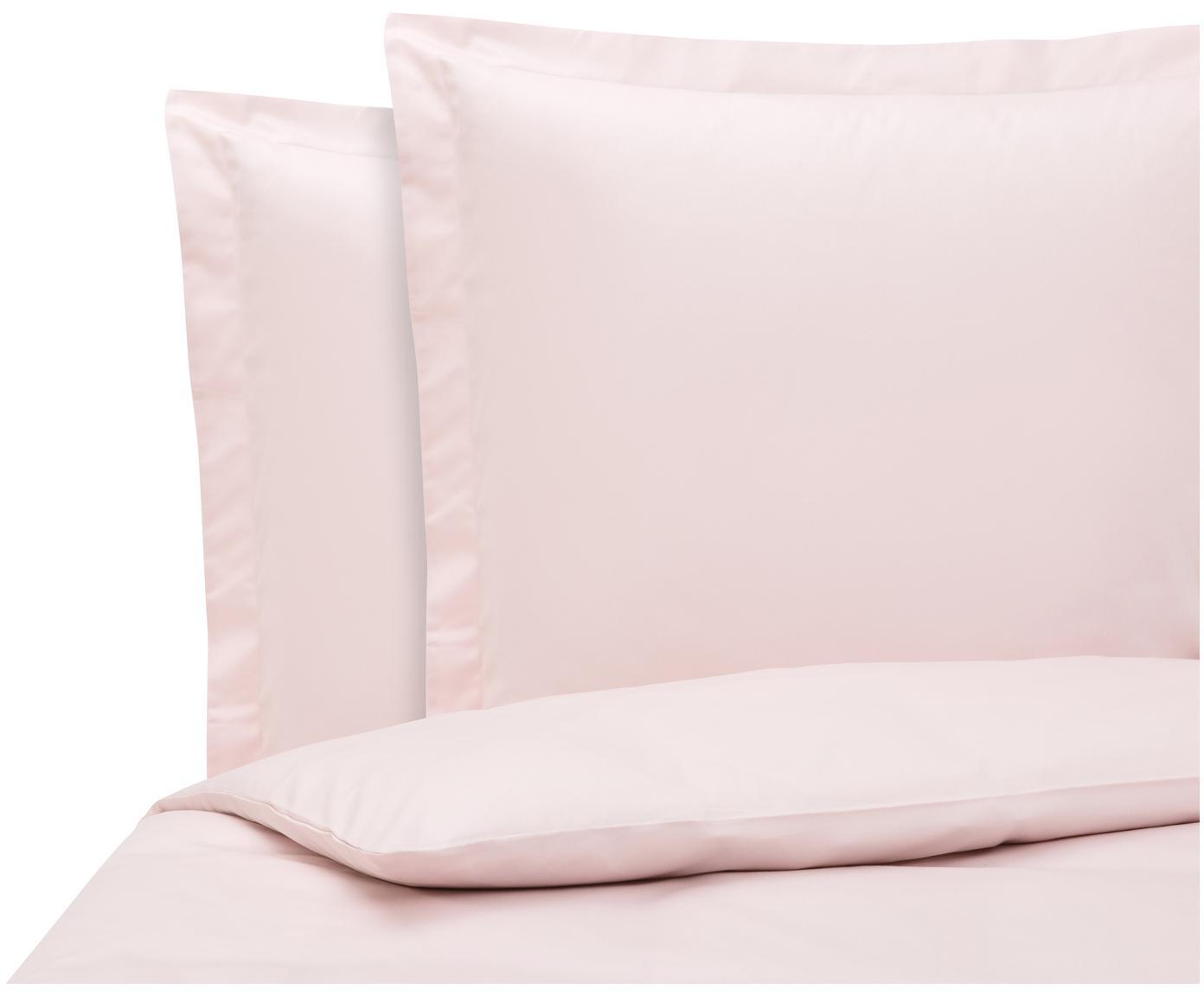 Baumwollsatin-Bettwäsche Premium in Rosa mit Stehsaum, Webart: Satin Fadendichte 400 TC,, Rosa, 200 x 200 cm + 2 Kissen 80 x 80 cm