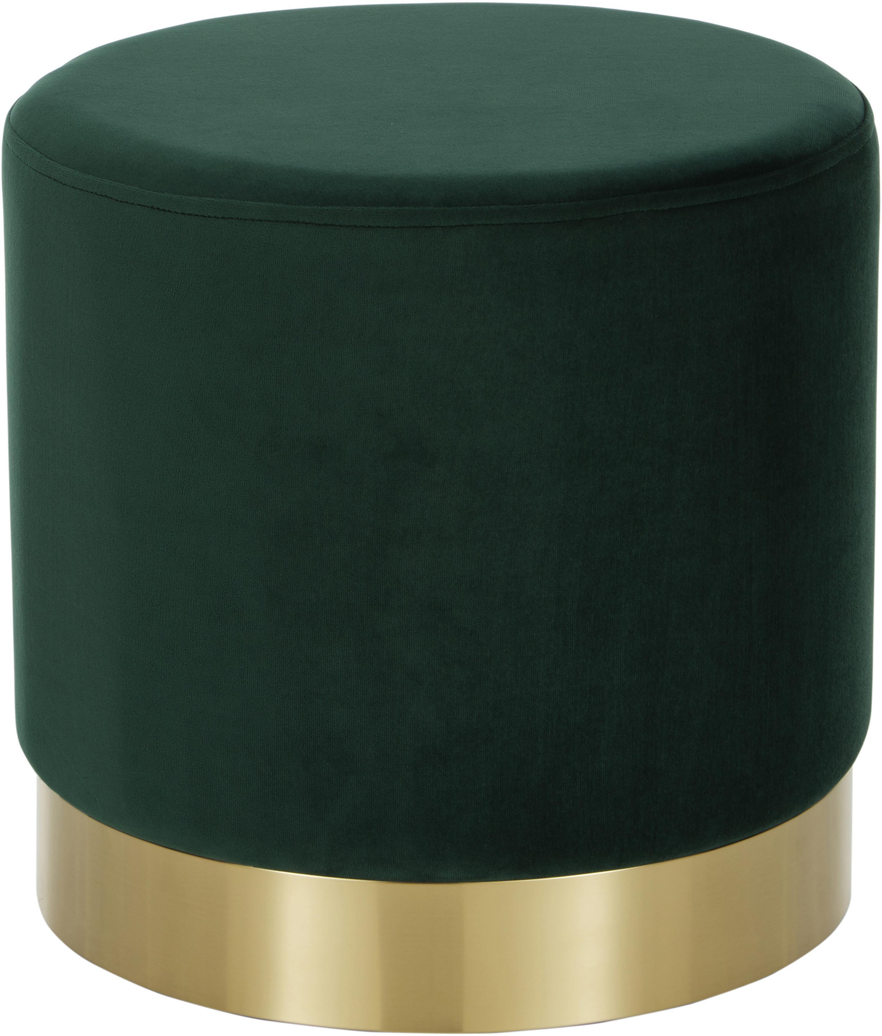 Puf de terciopelo Orchid, Tapizado: terciopelo (poliéster) Al, Estructura: tablero de fibras de dens, Verde claro, dorado, Ø 40 x Al 39 cm