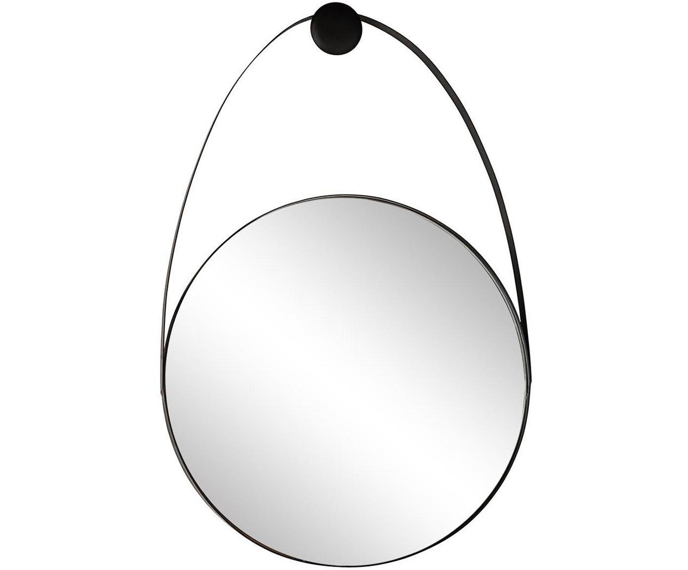 Espejo de pared Kieran, Correa: epoxy, Negro, An 46 x Al 68 cm