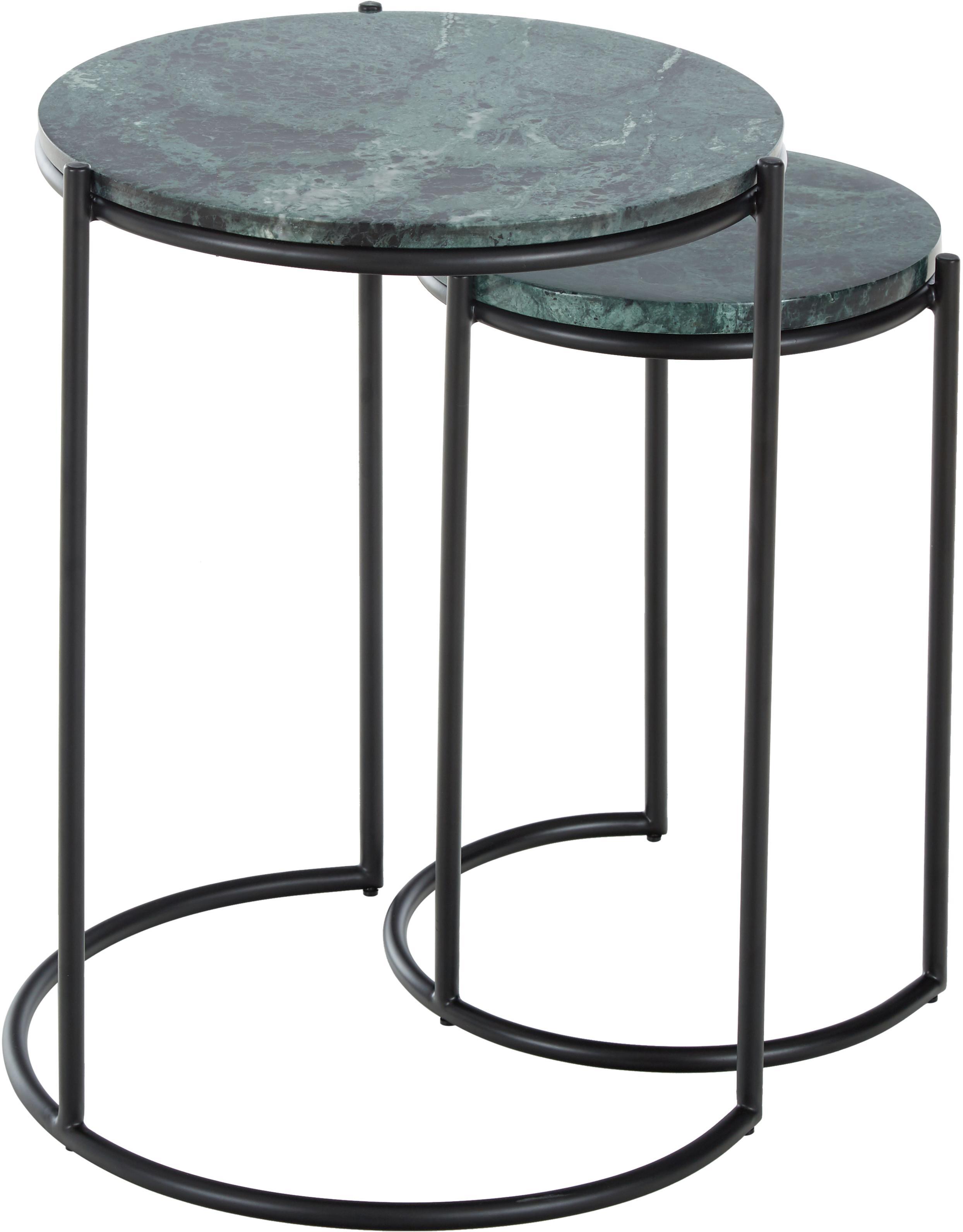 Marmeren bijzettafelset Ella, 2-delig, Tafelblad: marmer natuursteen, Frame: gepoedercoat metaal, Tafelbladen: groene marmer. Frame: mat zwart, Verschillende formaten