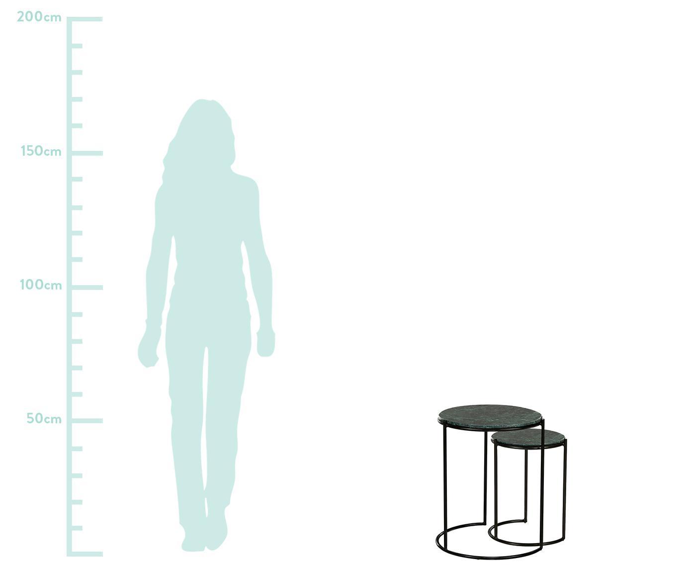 Set 2 tavolini in marmo Ella, Ripiani: marmo, Struttura: metallo verniciato a polv, Ripiani: marmo verde Struttura: nero opaco, Set in varie misure