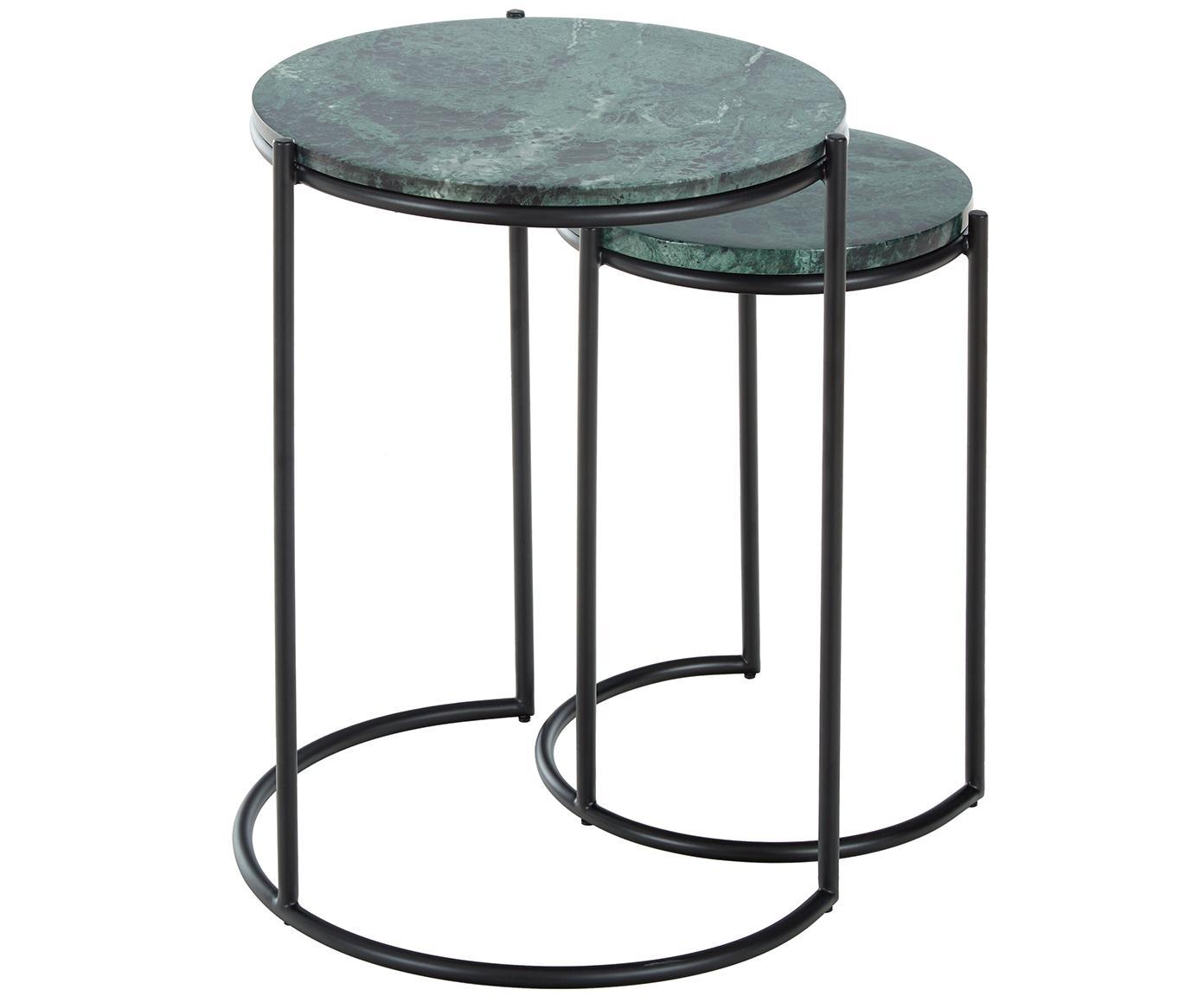 Set 2 tavolini in marmo Ella, Ripiani: pietra naturale di marmo, Struttura: metallo verniciato a polv, Ripiani: marmo verde Struttura: nero opaco, Diverse dimensioni