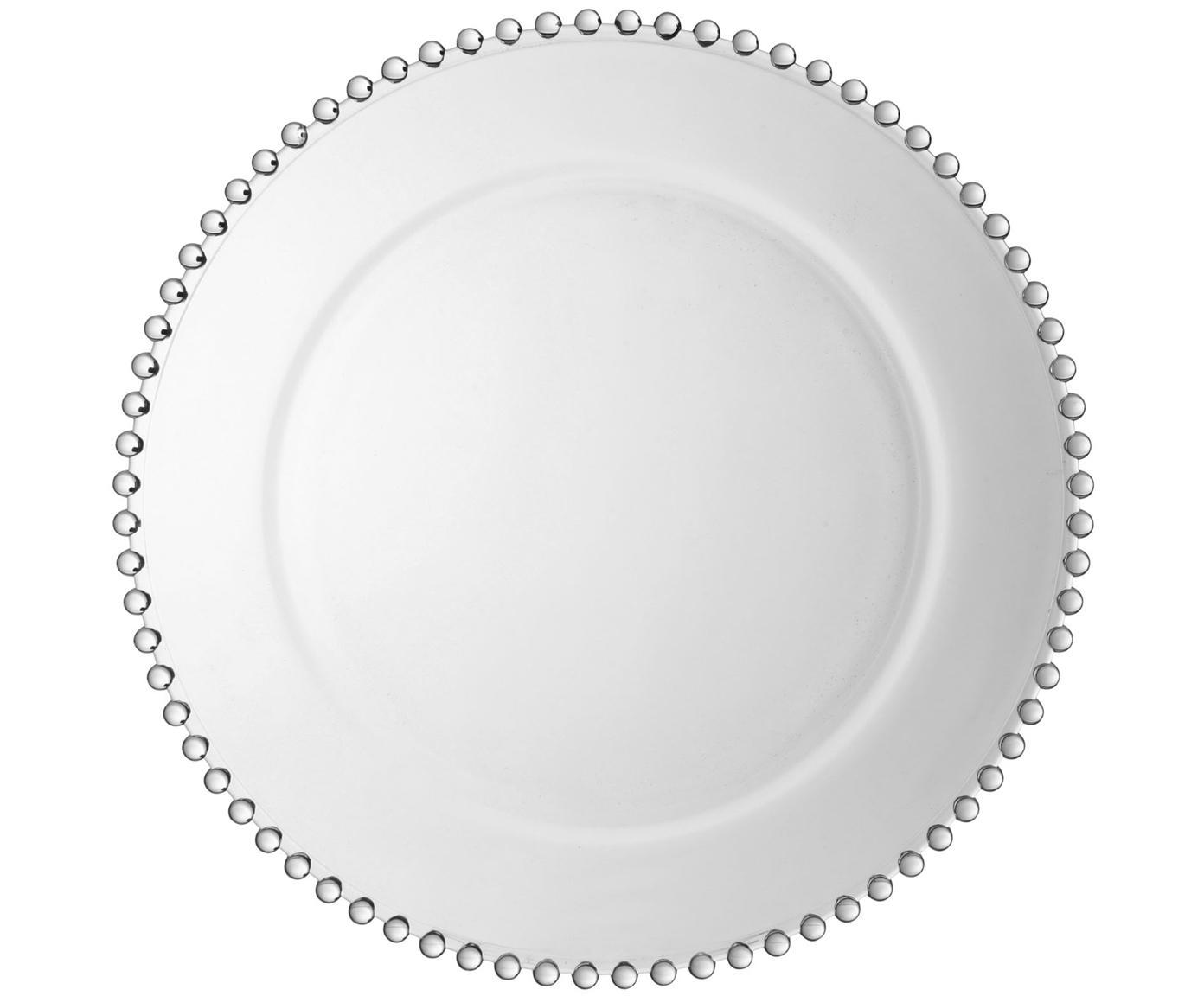 Platzteller Perles, Glas, Transparent, Ø 33 cm