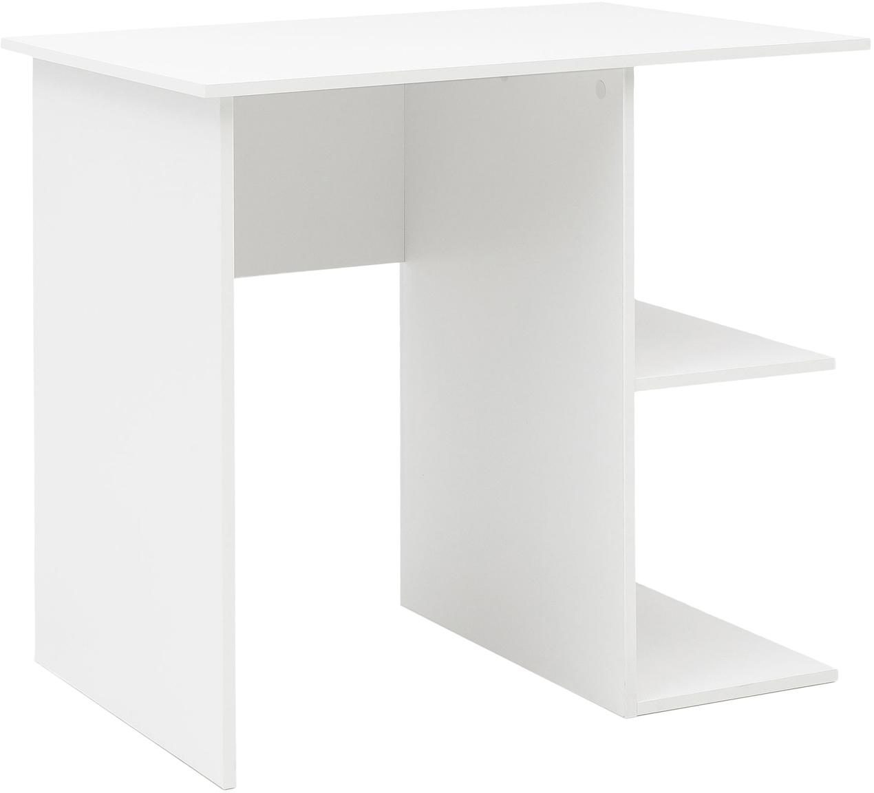 Małe biurko Milo, Płyta wiórowa powlekana melaminą, Biały, S 82 x W 76 cm