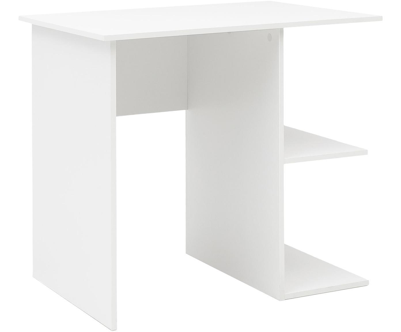 Klein bureau Milo in wit mat, Melamine gecoate spaanplaat, Wit, 82 x 76 cm