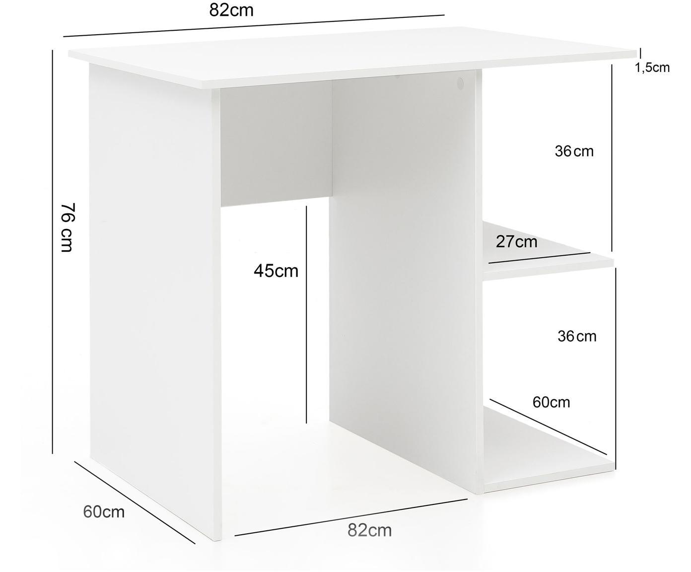 Kleiner Tisch Milo in Weiß Matt, Spanplatte, melaminbeschichtet, Weiß, 82 x 76 cm