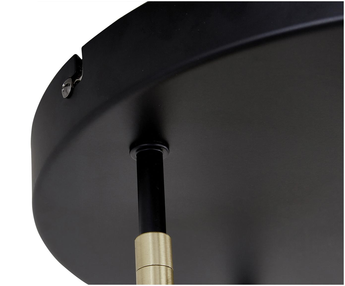 Plafondlamp Tony, Baldakijn: gepoedercoat metaal, Baldakijn: zwart, matte frames: messingkleurig, Ø 30 x H 26 cm