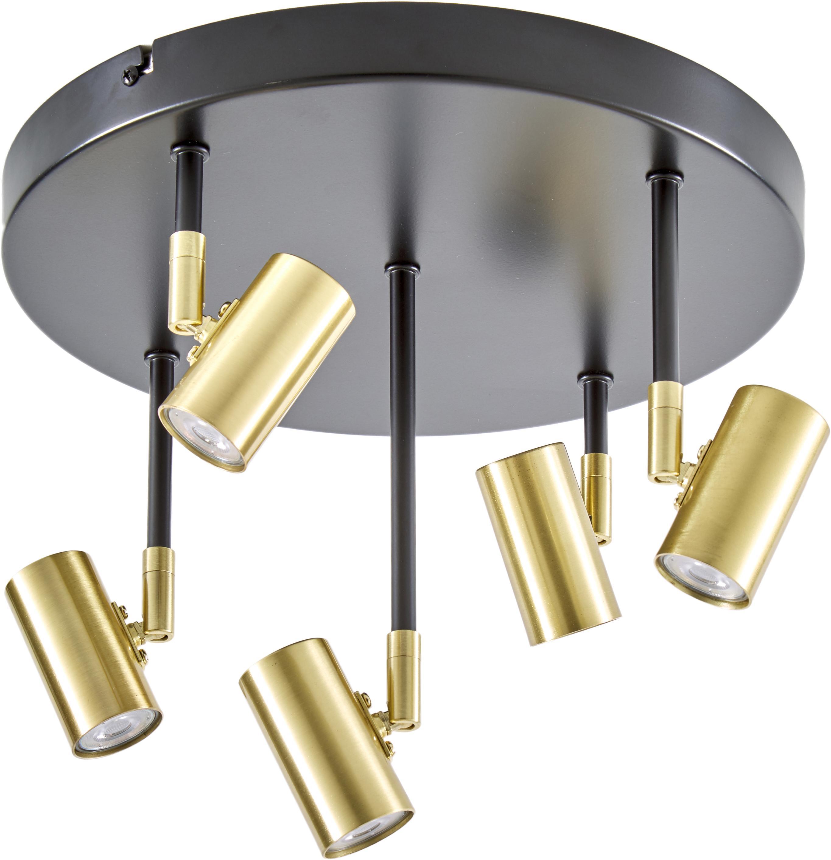 Lampa sufitowa LED z regulacją wysokości Tony, Osłona mocowania sufitowego: czarny, matowy Oprawy: odcienie mosiądzu, Ø 30 x W 26 cm