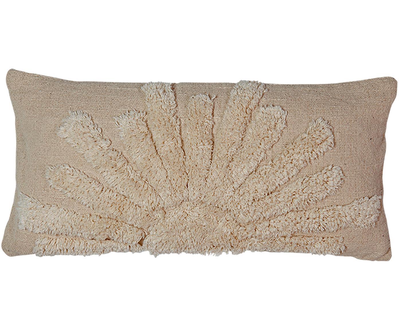 Grob gewebte Kissenhülle Sunrise aus Bio-Baumwolle, 100% Bio-Baumwolle, Beige, 30 x 60 cm