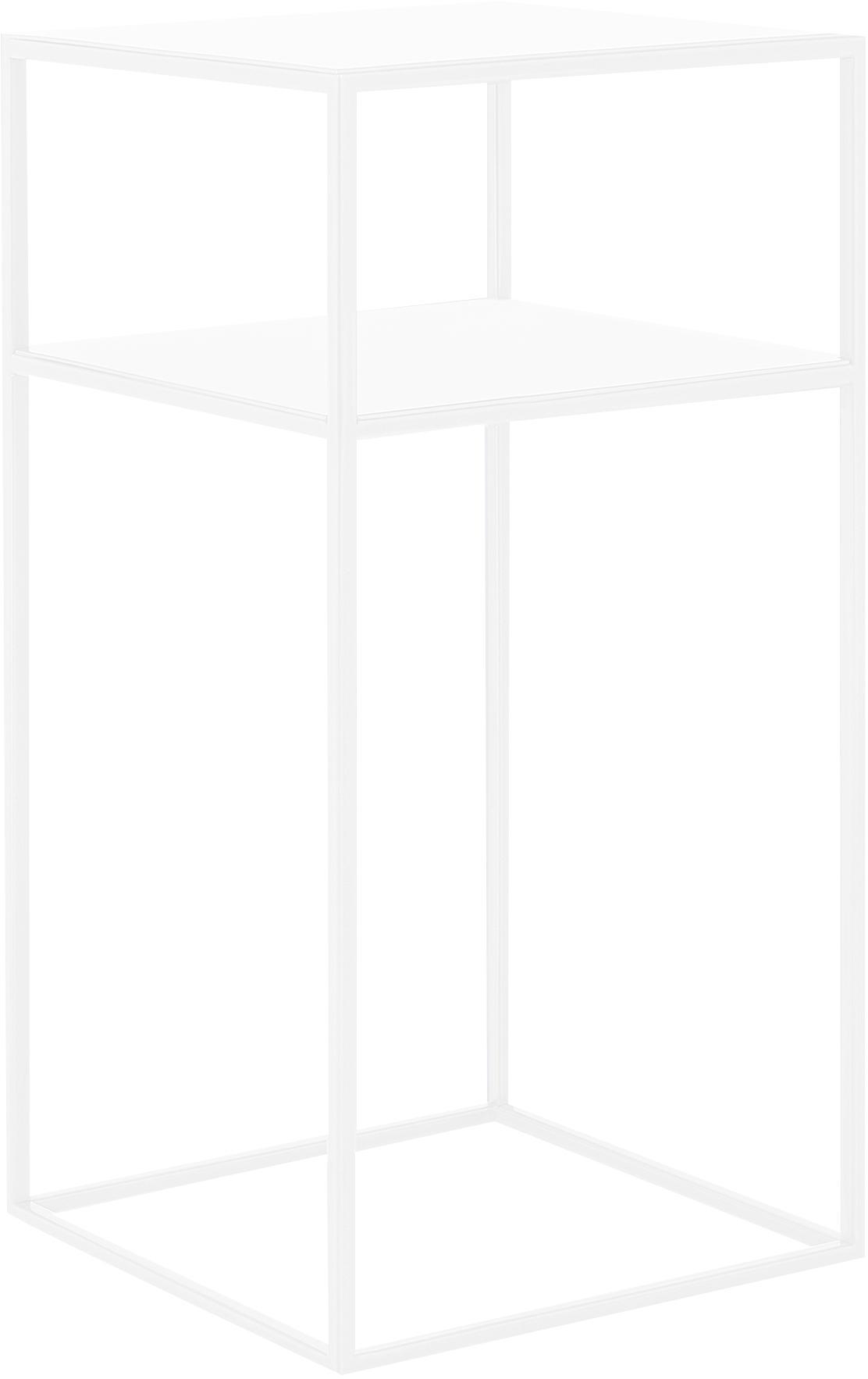 Mesa auxiliar de metal Tensio Oli, Metal con pintura en polvo, Blanco, An 30 x F 30 cm