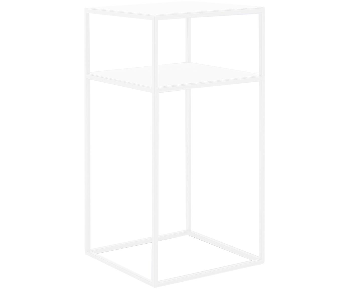 Tavolino con piano d'appoggio in metallo Tensio Oli, Metallo verniciato a polvere, Bianco, Larg. 30 x Prof. 30 cm