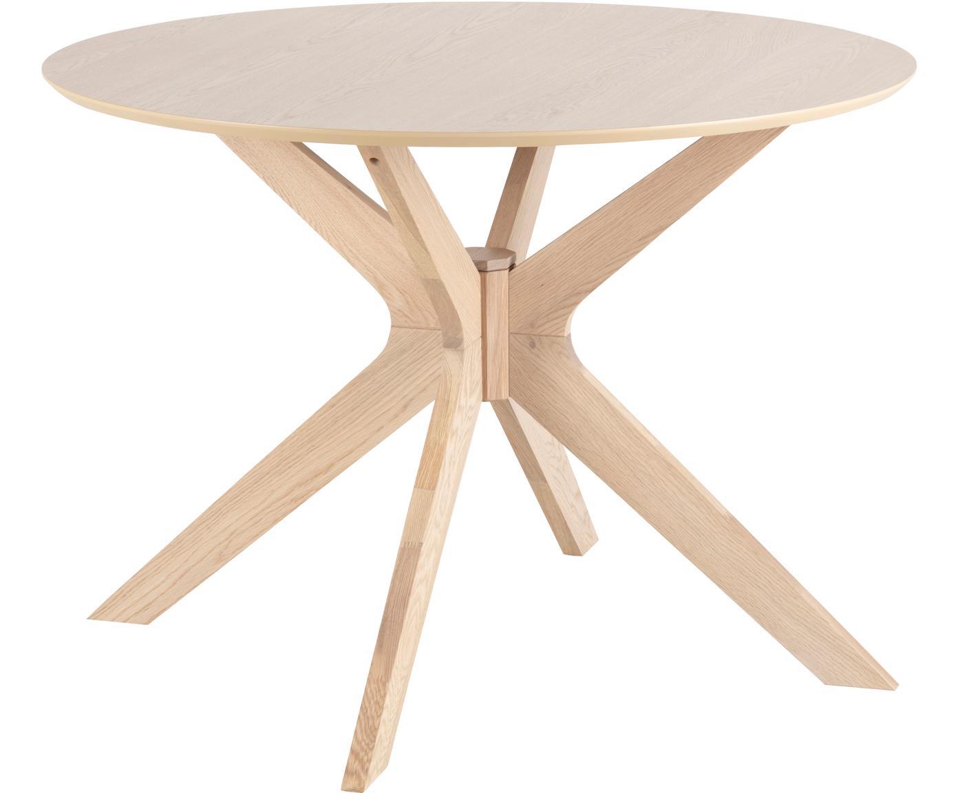 Tavolo in legno Duncan, Piano d'appoggio: impiallacciato rovere, Gambe: legno di quercia massello, Legno di quercia, Ø 105 x Alt. 75 cm