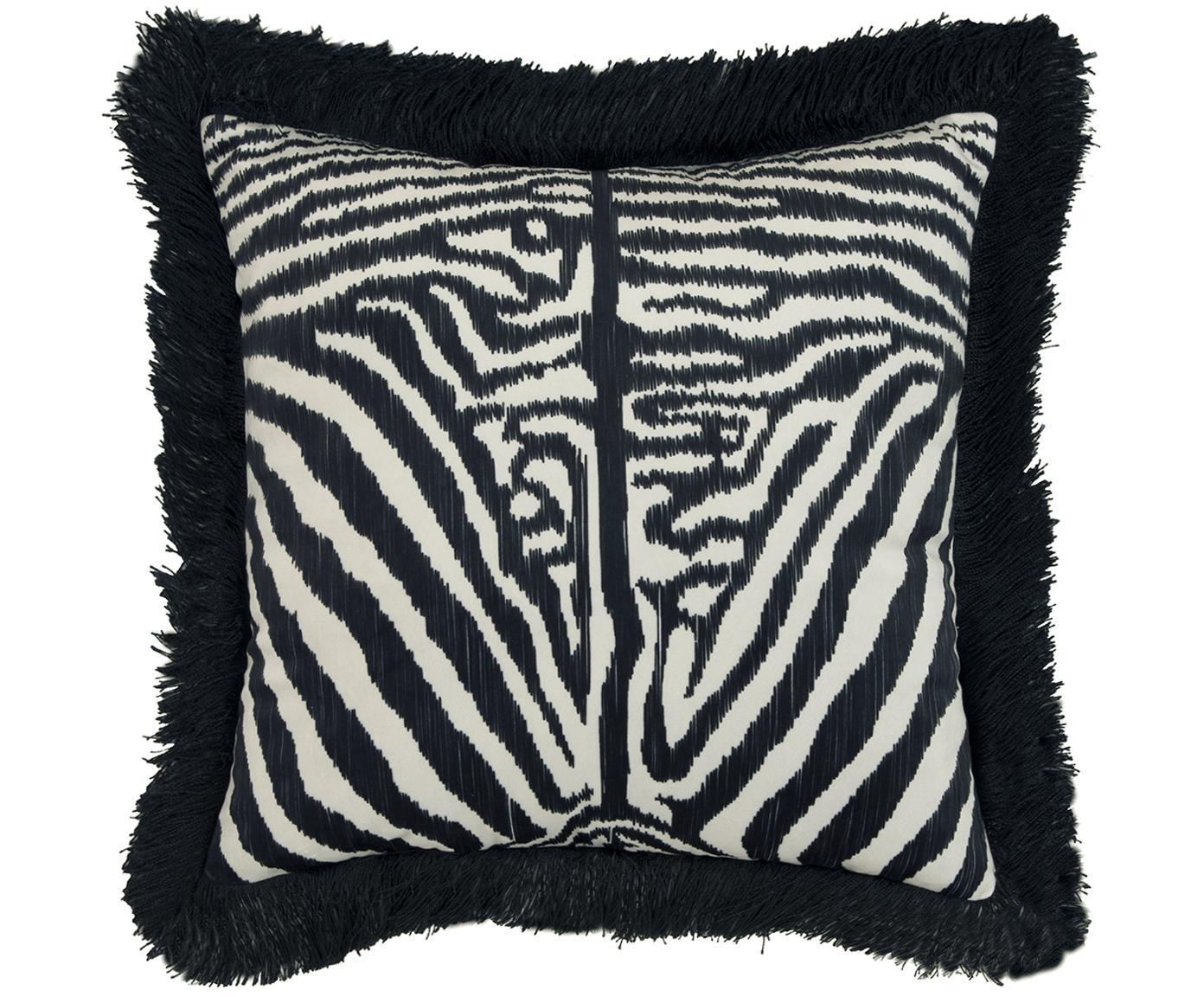 Funda de cojín de terciopelo con flecos Pheneas, Parte delantera: terciopelo de poliéster, Parte trasera: algodón, Flecos: viscosa, Negro, blanco crema, An 40 x L 40 cm
