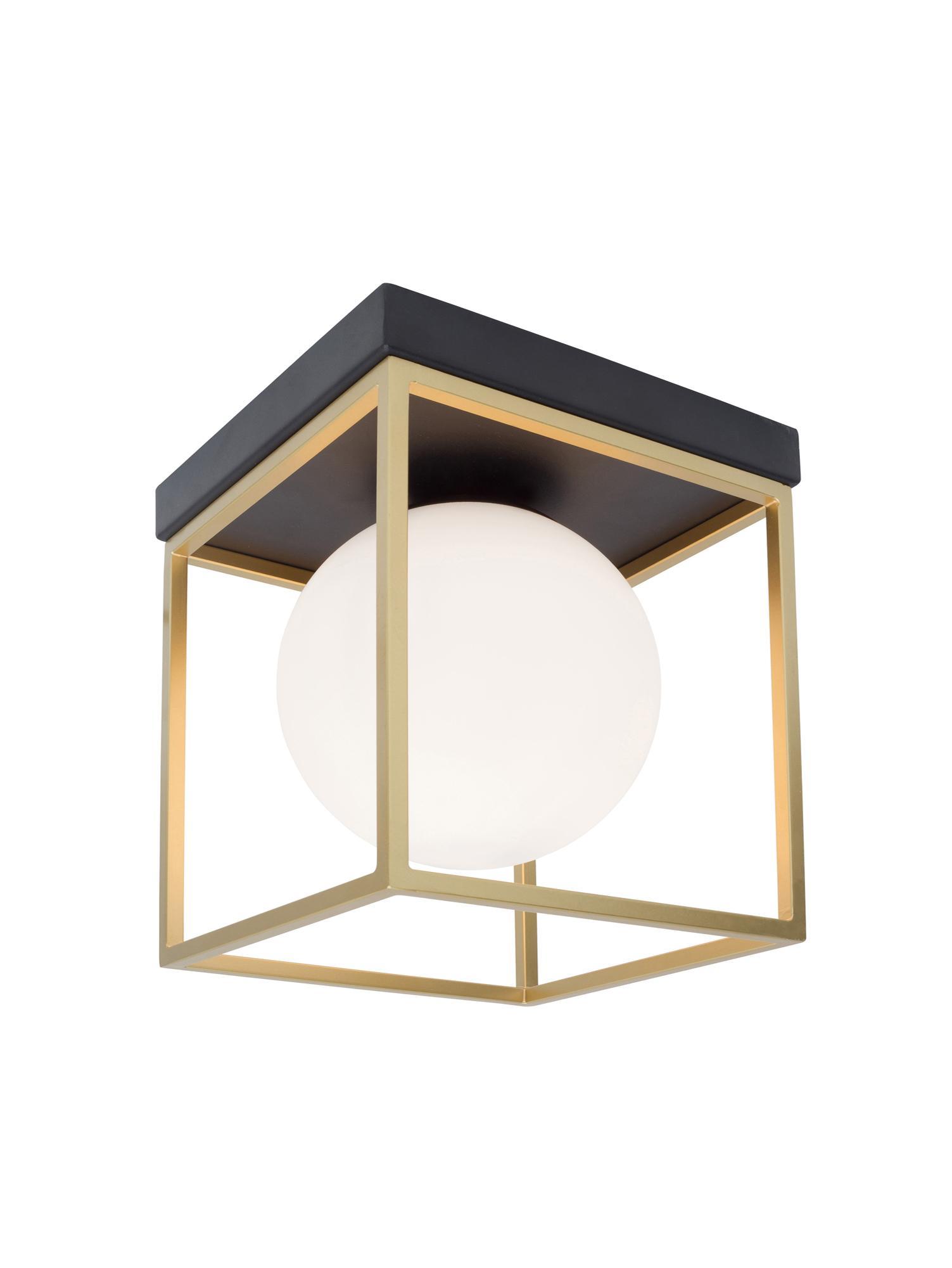 Deckenleuchte Juliet, Lampenschirm: Glas, Gestell: Metall, vermessingt, Weiss, Messing, 19 x 20 cm