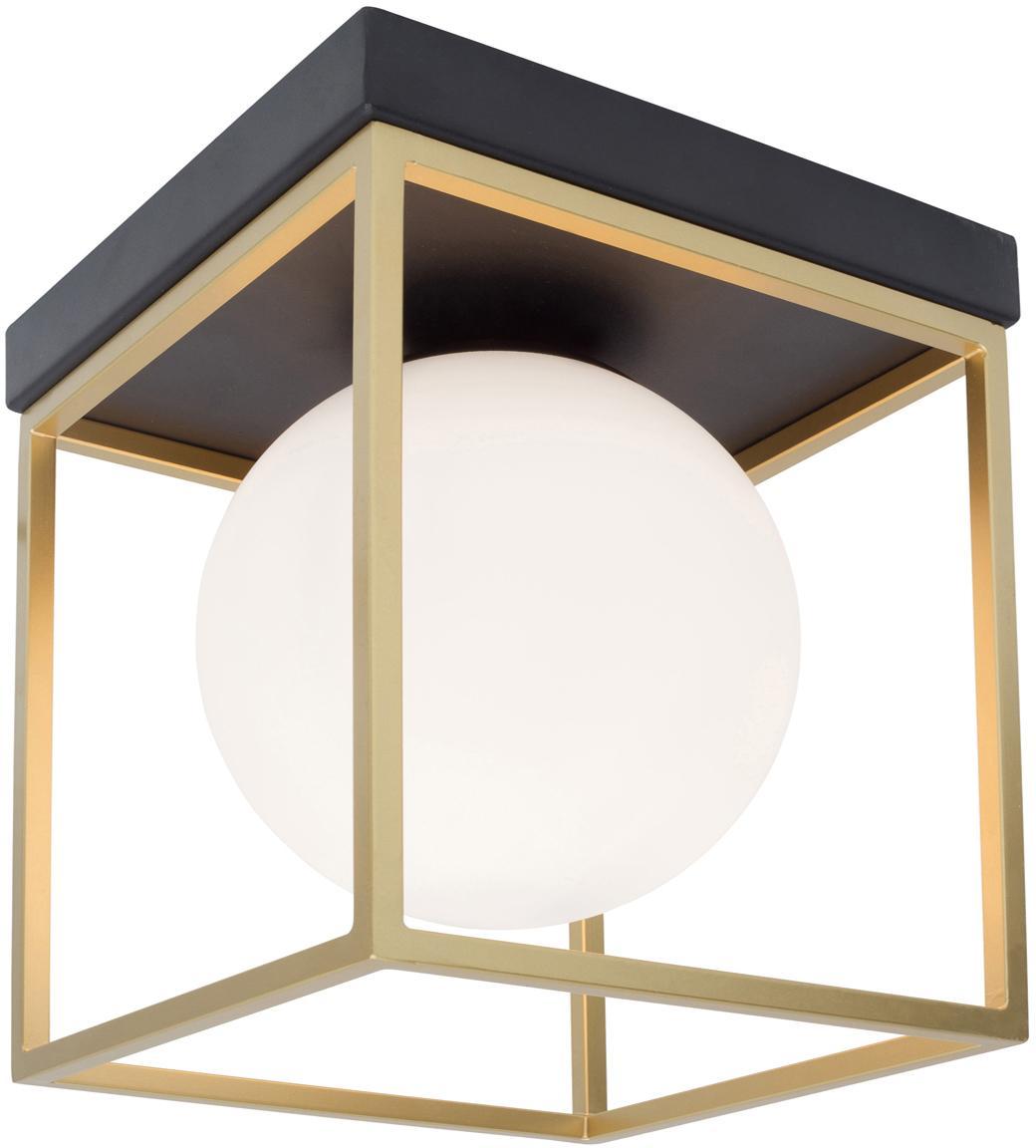 Plafondlamp Juliet, Lampenkap: glas, Frame: vermessingd metaal, Wit, messingkleurig, 19 x 20 cm