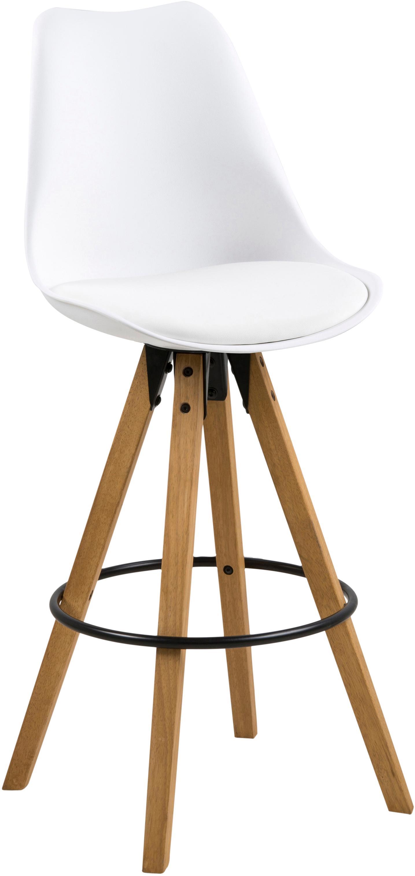 Barstühle Dima, 2 Stück, Sitzschale: Polyurethan, Bezug: Polyester, Beine: Gummibaumholz, geölt, Sitzschale: Weiß<br>Beine: Gummibaumholz<br>Fußstütze: Schwarz, 49 x 112 cm